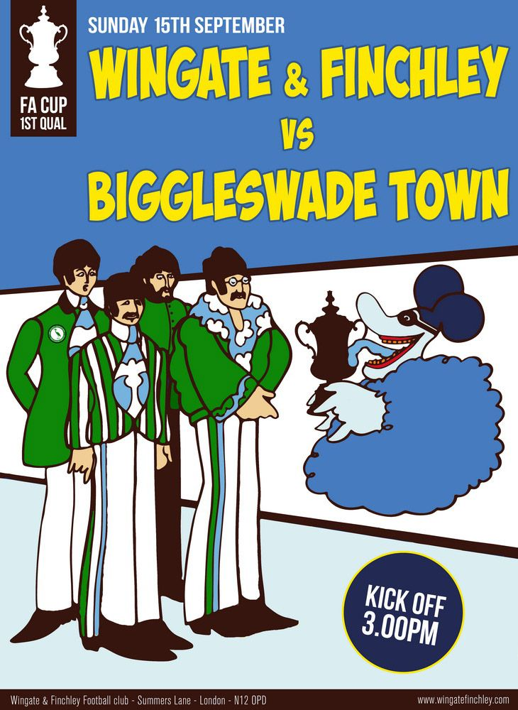 Beatles inspired match poster for Wingate & Finchley v Biggleswade Town