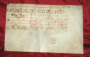Wonderful fragment of XIIIth century Antiphonary, found in Florence, with part of Gregorian Chant.    Gregorian chant developed mainly in western and central Europe during the 9th and 10th centuries, with later additions and redactions. Although popular legend credits Pope St. Gregory the Great with inventing Gregorian chant, scholars believe that it arose from a later Carolingian synthesis of Roman chant and Gallican Chant.    $