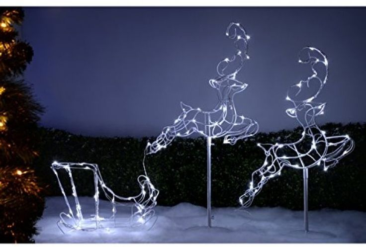 Christmas Flying Reindeer Sleigh With 120 Outdoor LED Lights 300 Cm Large White