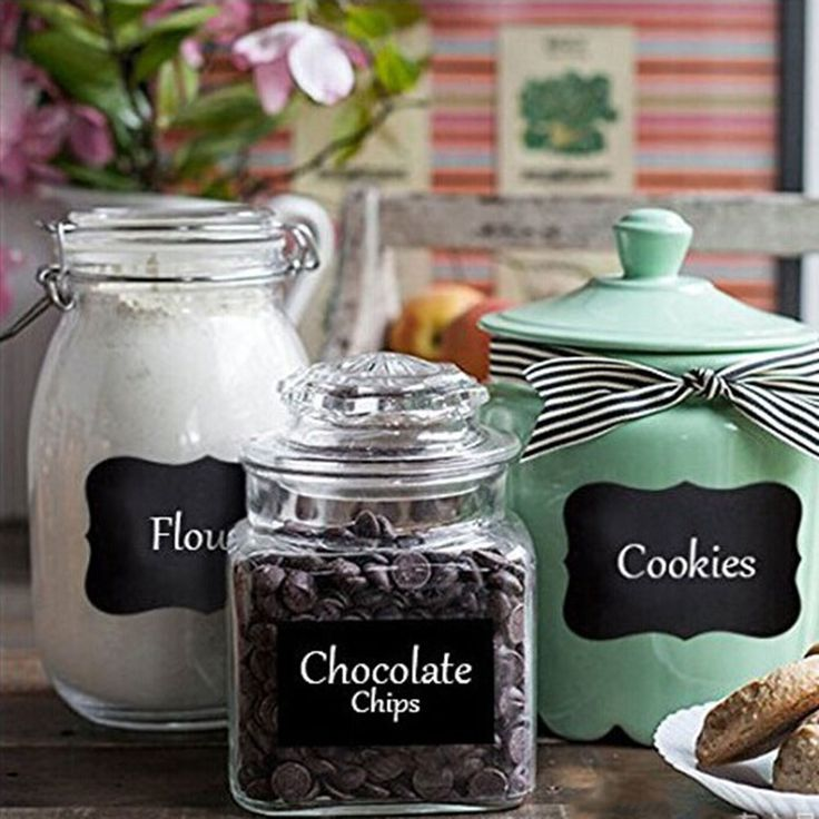 Creative Removable Blackboard Chalkboard Cup Jam Jar Glass Labels Tool