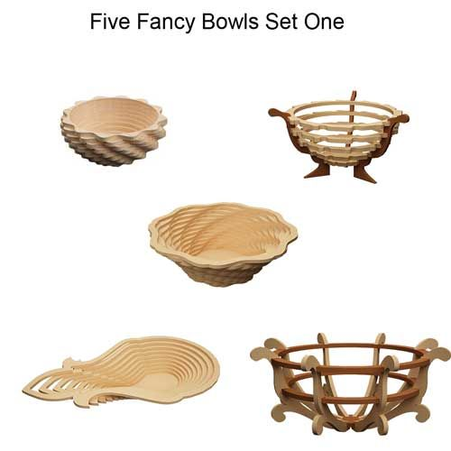 On Sale Now! ALL DOWNLOADABLE PRODUCTS ARE AVAILABLE INSTANTLY AFTER PAYMENT! Ready to cut downloadable Patterns and Projects for your CNC Router, Milling Machine, Plasma Cutter or Laser Machine and Scroll Saw in both Imperial Inch format as well as Metric size for the Global CNC Hobbyist. Files include a Full Color Assembly Manual Copyright makeCNC! Fancy Bowls Set One Includes: Little Twister Bowl, Fruit Bowl, Sand Dune Bowl, Egypt Bowl & Banana Bowl. ...