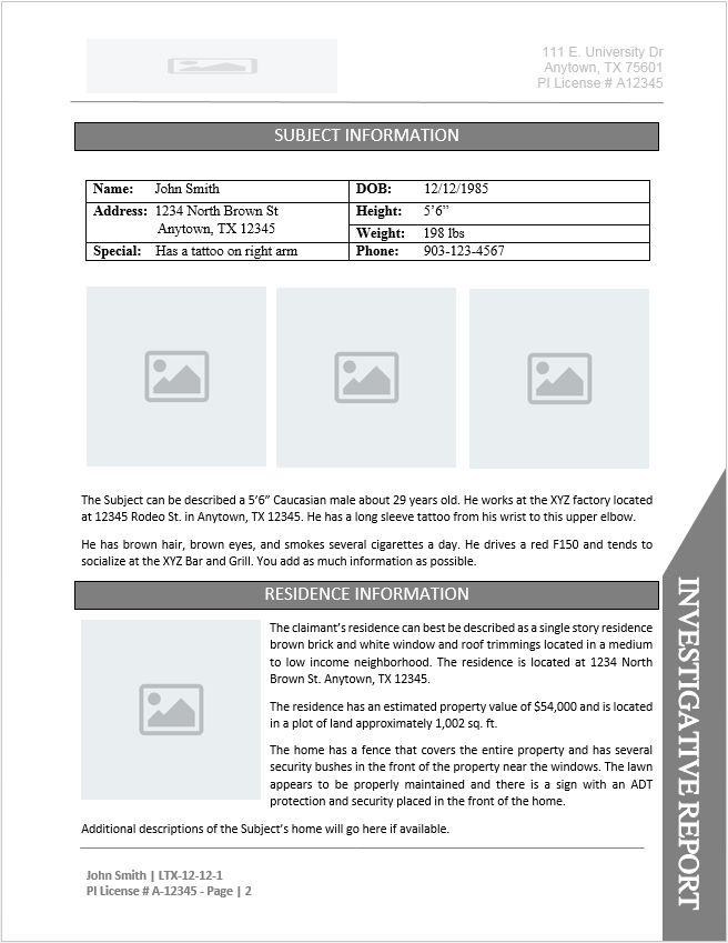 Private Investigator Report Template Document Downloads