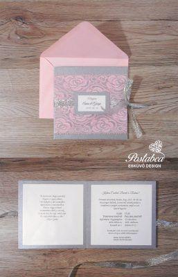 ezüst rózsaszín esküvői meghívó csipkével