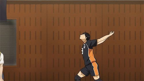 Haikyuu!! Umm can I please jump serve like that?? Please?!?!?! TT0TT Oh yeah sure!