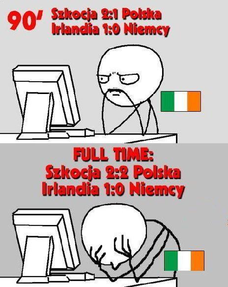 Kibice w Irlandii załamani po końcowym gwizdku pomimo zwycięstwa z Niemcami • Memy po meczu Szkocja vs Polska • Wejdź i zobacz >>