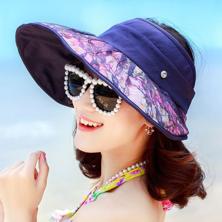 Women Foldable Empty Top Anti-uv Beach Hat Outdoor Travel Driving Large Brim Sunscreen Visor Hat