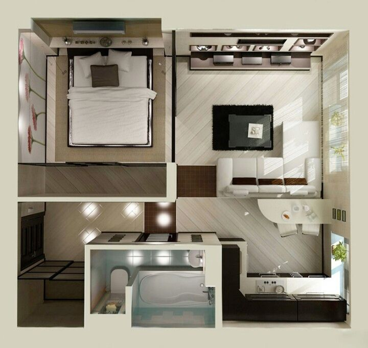 Home And Apartment, The Good Design Of Studio Apartment Floor Plan Design  With Gray Floor And White Wall Also The Comfortable Style Of Apartment Plan  With ...