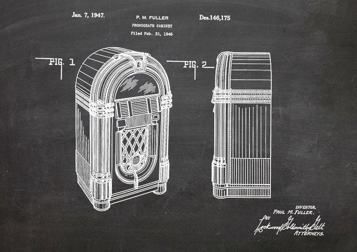 Juke, Box, Musik, Druck, Patent, Vintage, DIN A4 von patente-kunst auf DaWanda.com