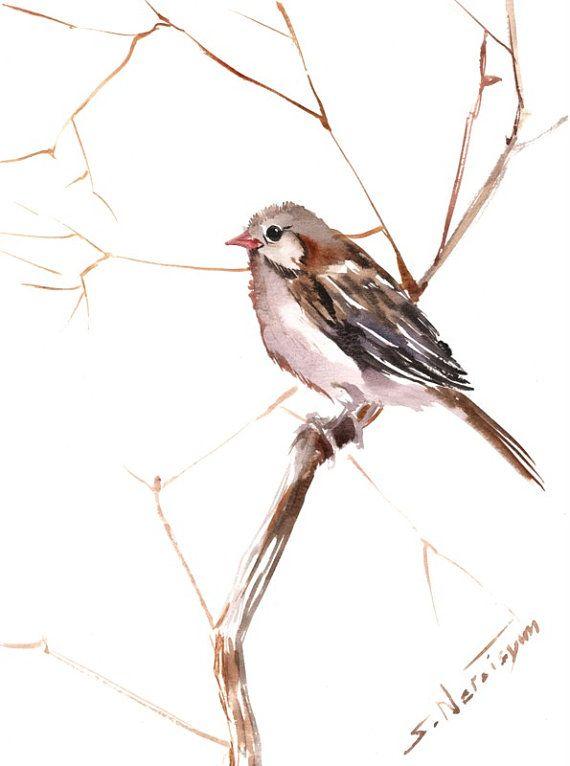 Campo de gorrión acuarela Original pájaro gris por ORIGINALONLY