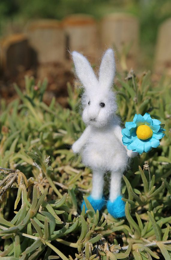 Needle felted white bunny/rabbit/hare. With blue by donidinadya