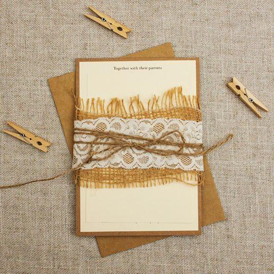 Burlap, Lace and Twine Wrapped Wedding Invitations cream rustic wedding invitation