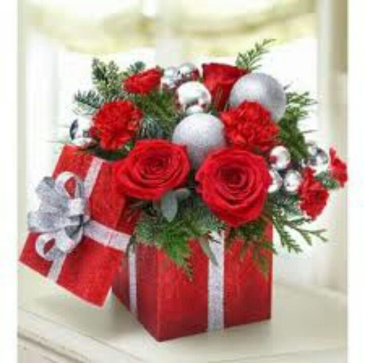 Christmas Arrangement Red Roses White Lilies Hypericum And Assorted Fragrant Christmas Greens