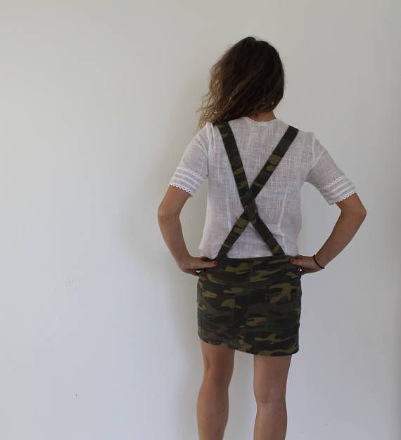 CAMOUFLAGE Military Dress 90s Army Style Button Up Mini Grunge