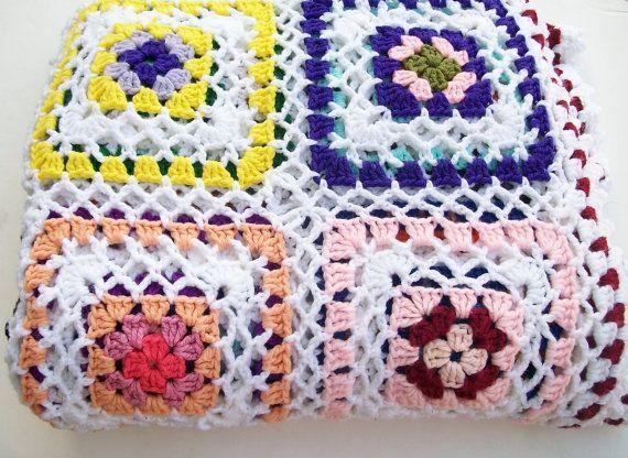 Vintage Afghan Granny Square Crochet Blanket Manta