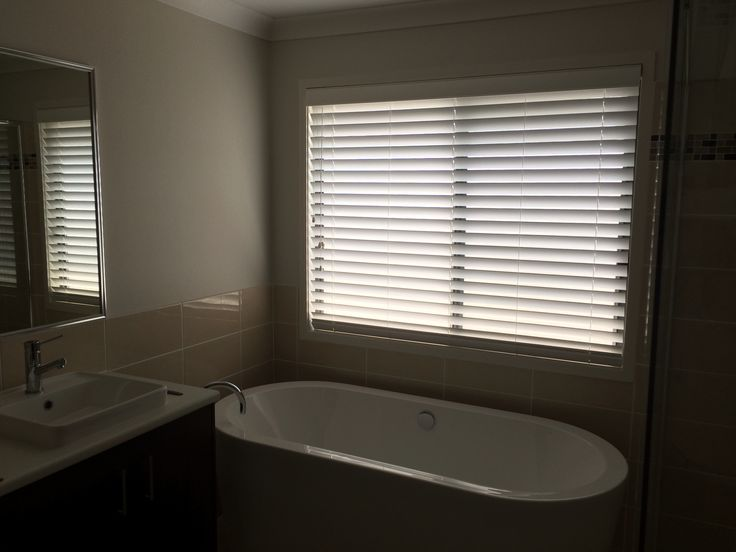 White Timbalook 63cm Venetian Blinds from Franklyn. Taubmans Smooth Pebble paint. Tiles Portifino Coastal Gloss from National Tiles.