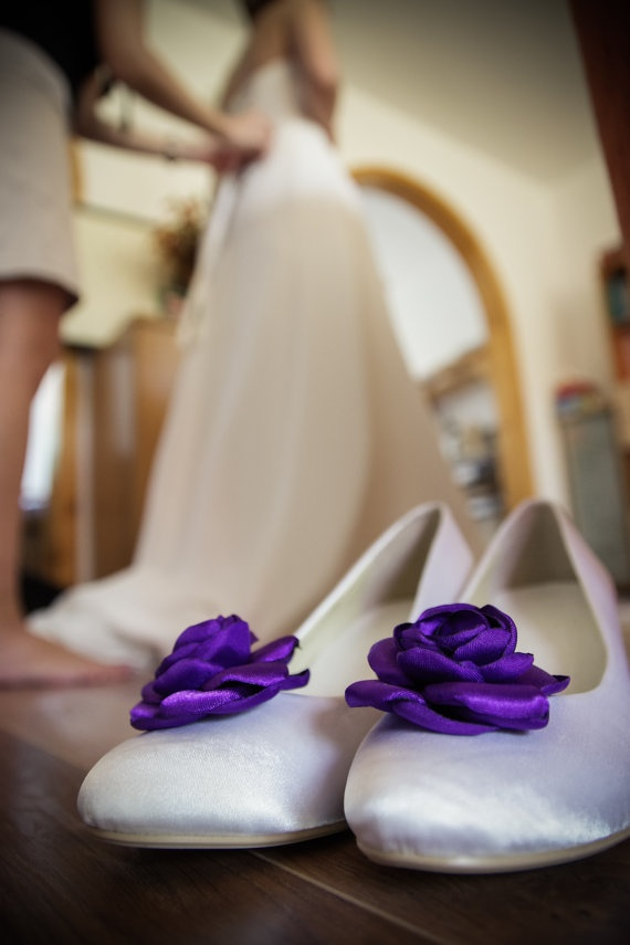 Cadbury Purple Wedding Shoe Clips  made to order by gemmaroses, $20.00