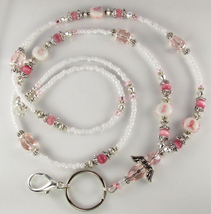 Beaded Lanyard HOPE Angel ID Badge Holder Breast by curlynetto