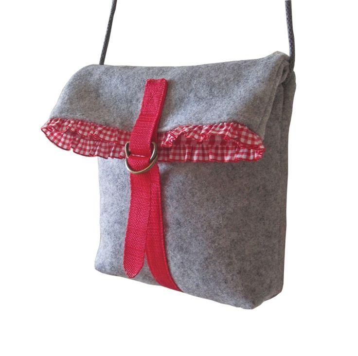 Trachtentasche RESI grau – Rüschenborte rot-weiß