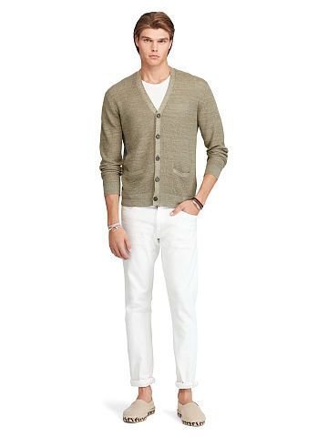 Linen-Silk V-Neck Cardigan - Polo Ralph Lauren Cardigan \u0026 Full-Zip