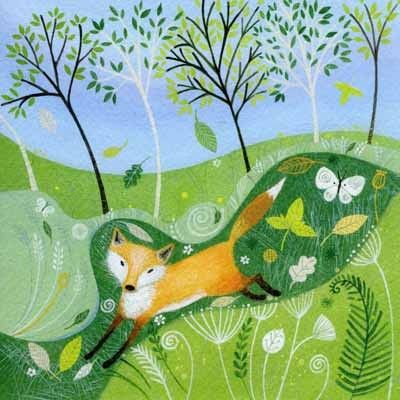 PL-ESK020 Pretty any-occasion greetings card illustrated by Lucy Grossmith with a fox in the woods