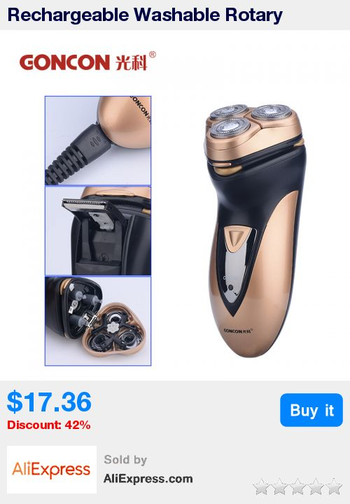 Rechargeable Washable Rotary Three-blade Electric Shaver razor shaving machine for men trimming sideburns and long beards * Pub Date: 10:49 Oct 22 2017