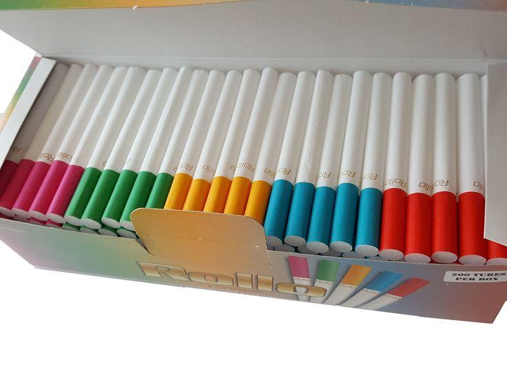 Tuburi tigari Rollo  Ambalaj:             200 tuburi tigari/cutie  Culoare filtru:      5 culori diferite in cantitati egale (vezi foto)  Lungime filtru:     15 mm  Lungime totala:    82 mm  Diametru:            8 mm  Comenzi la tel: 0744545936 sau pe www.tuburipentrutigari.ro