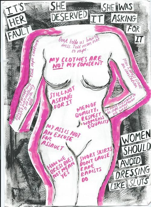 Words around the outside of the figure are some of society's fucked up messages towards women. (particularly about rape,victim blaming, slut shaming)