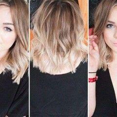 Roztomilé blond ombre účesy: rovné, vrstvené strihy pre stredne dlhé vlasy