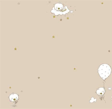 Fint mønstret papirtapet fra Babies med motiv av bamser, skyer og stjerner. Bland mønstrede tapeter med stripete, endsfargede eller prikkete for å skape et personlig barnerom. Tapeten er vaskbar og har god lysekthet. Materiale: Pa