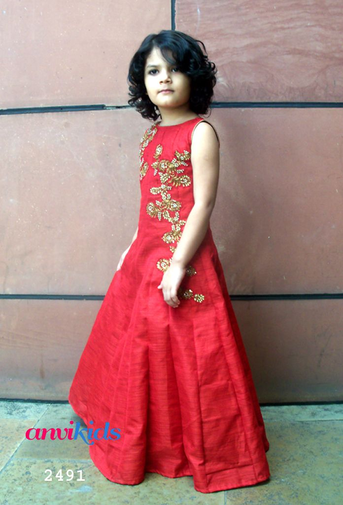 Red Girl gown dress www.anvikids.com anvi.kids@gmail.com