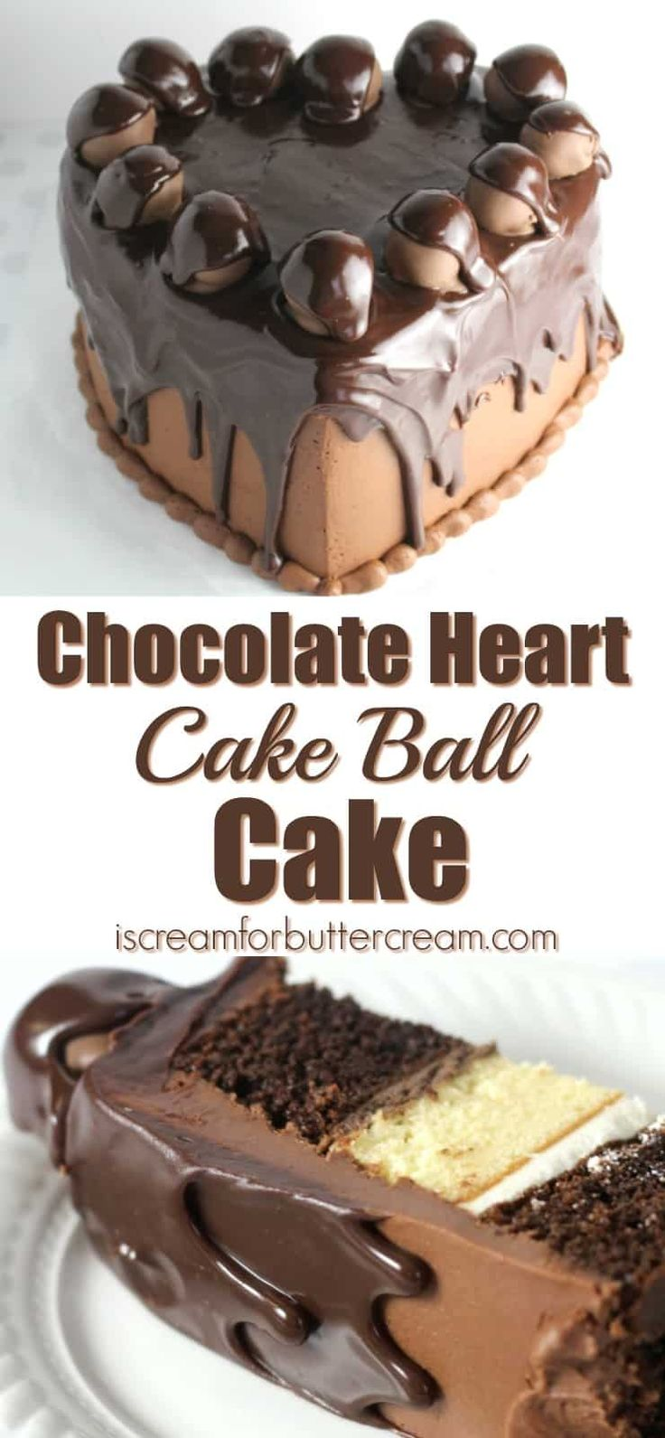 This rich chocolate cake is covered in chocolate buttercream, topped with chocolate covered cake balls, then covered in pourable ganache. via @KaraJaneB