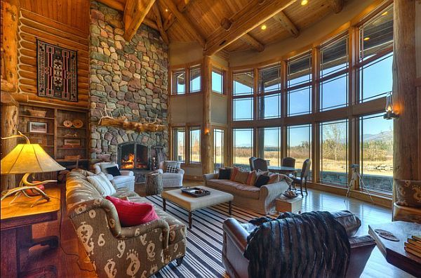 log-private-lake-house8  Five-bedroom, five-bath residence near Whitefish Lake for sale