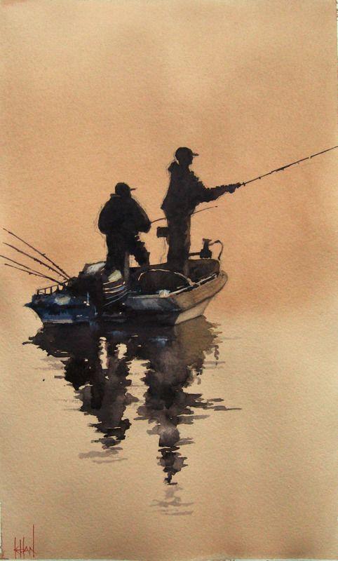 """Gone Fishing"" by S Khan. #art #painting #artwork #canvas #boats #fishingboats #fishing #marineart #marine"