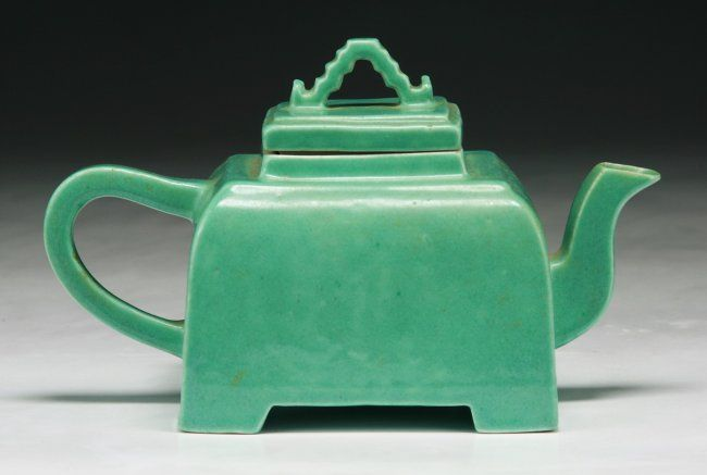 """A Rare Chinese Antique Celadon Glazed Teapot: of square shaped body with a C-shaped handle, of Mid-Qing Dynasty; Size: L: 7"""""""