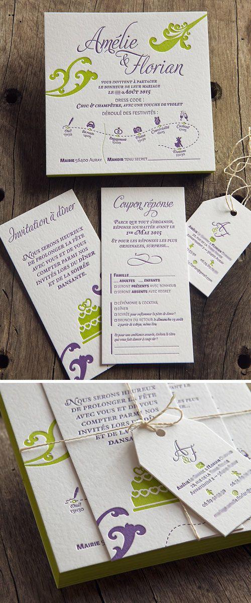 suite faire part mariage champtre letterpress 2 couleurs letterpress wedding suite in 2 - Texte Faire Part Mariage Champetre