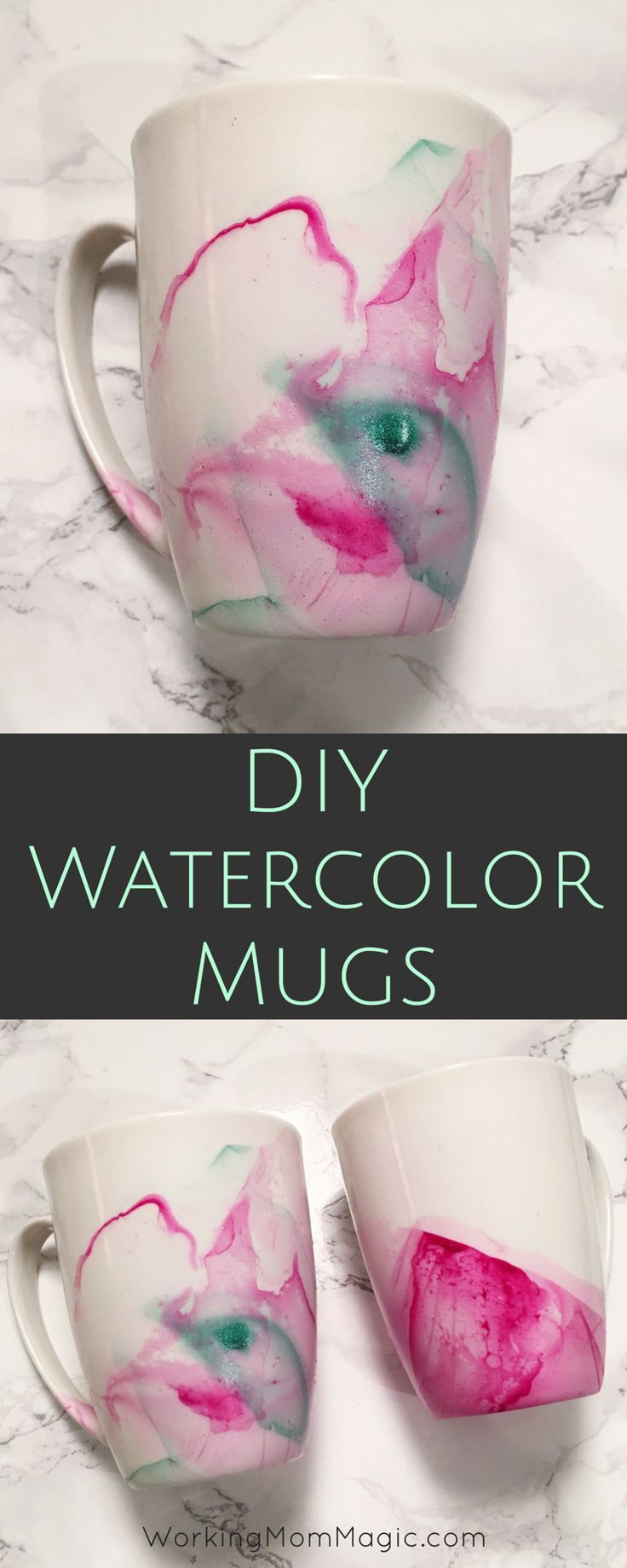 Create beautiful mugs using nail polish & mugs from the Dollar Store! SO easy and it takes just minutes!