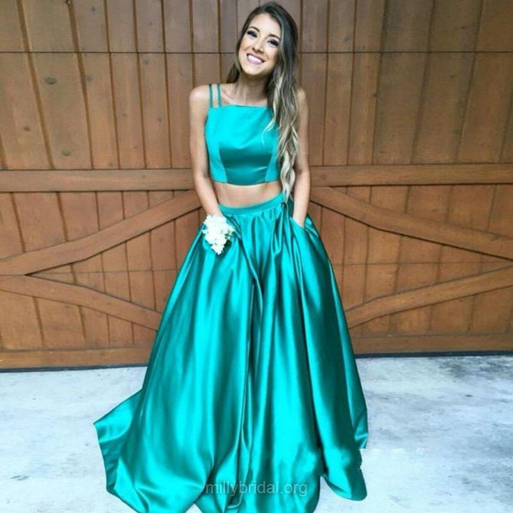 Fashion Two Piece Prom Dresses,A-line Long Formal Dresses,Square Neckline Satin Ball Gowns, Sweep Train Pockets Evening Party Dresses