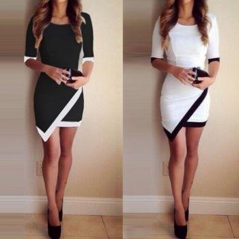 Women Fashion Half Sleeve Ladies Asymmetric Casual Dress White & Black Patchwork Elegant Dresses Bodycon Pencil Short Mini Dress