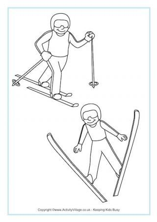 Nordic Combined Colouring Page: Winter Olympic Crafts for Kids. #StayCurious