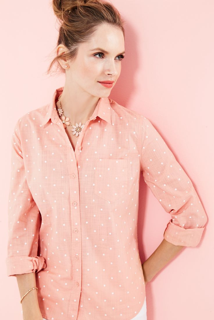 Our essential shirt in #coral #polkadot is all the #spring #wardrobe inspiration we need. #fashion #springfashion #looksforless #ootd #style #closet #dressshirt