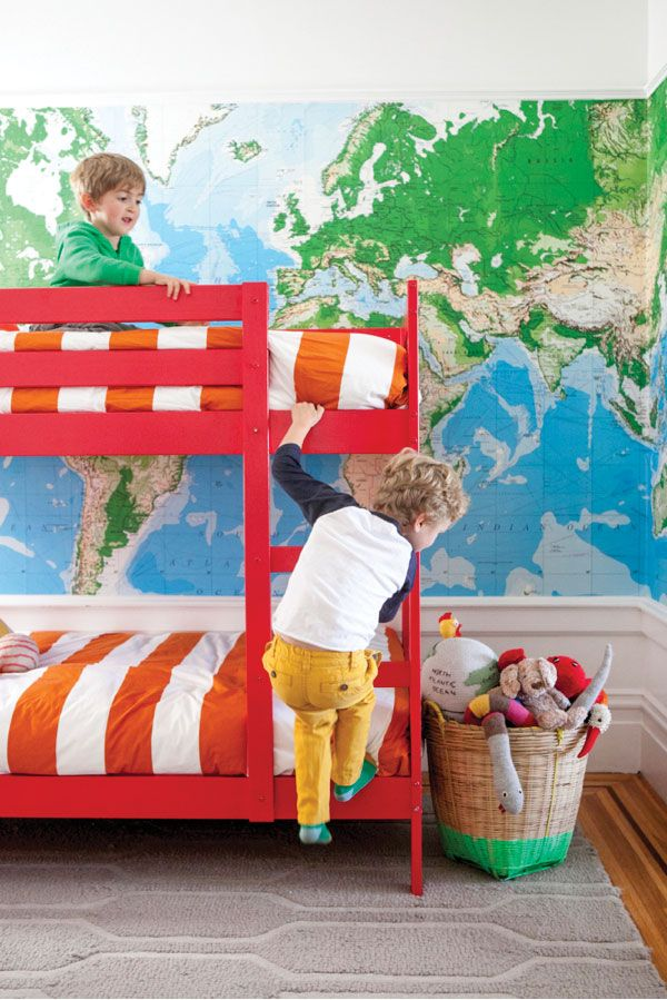 "Children's Room | Oh Happy Day / I absolutely adore this room and want that map and those bunk beds in Henry's ""big boy"" room."