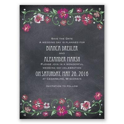 Blooming Chalkboard - Begonia - Save the Date