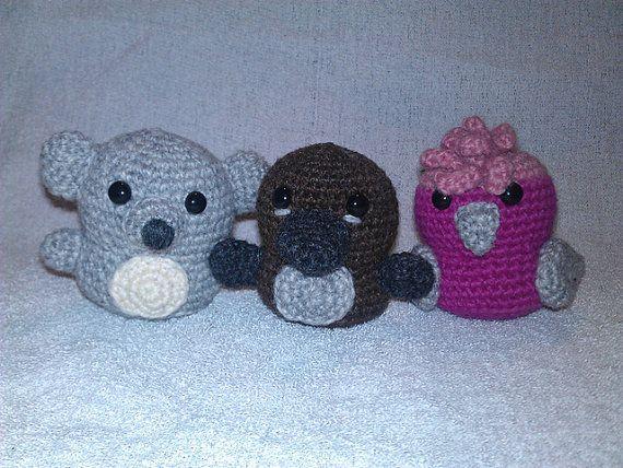 Koala, platypus and galah crochet pattern