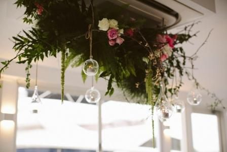 Acqua Viva on the Swan Hanging Floral Installation: Touched by Angels Photo: White Tulip Photography