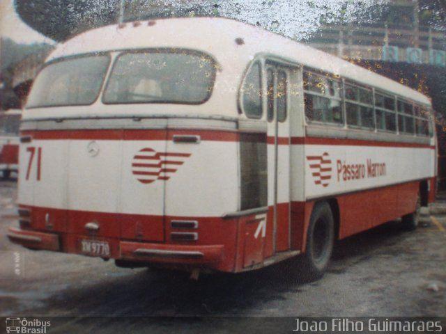 Ônibus da empresa Empresa de Ônibus Pássaro Marron, carro 71, carroceria Mercedes-Benz Monobloco O-321, chassi Mercedes-Benz O-321. Foto na cidade de Aparecida-SP por Joao Filho Guimaraes, publicada em 28/02/2013 18:50:04.
