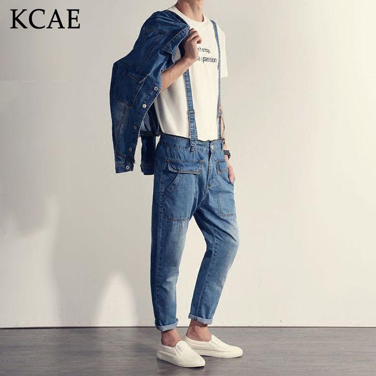 66.96$  Buy here  - Mens Jumpsuit Denim Overalls Long Sleeves Men Baggy Cargo Pants with Suspenders Denim Bib Overalls Shorts for Men