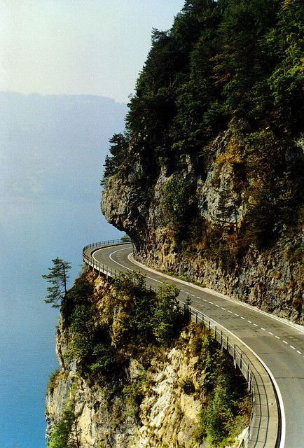 Thunersee, Switzerland.  OMG……I have the greatest admiration for the engineers and builders of these kinds of road passages.