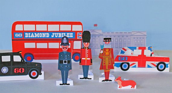 Paper dolls, London and Buckingham Palace Printable templates