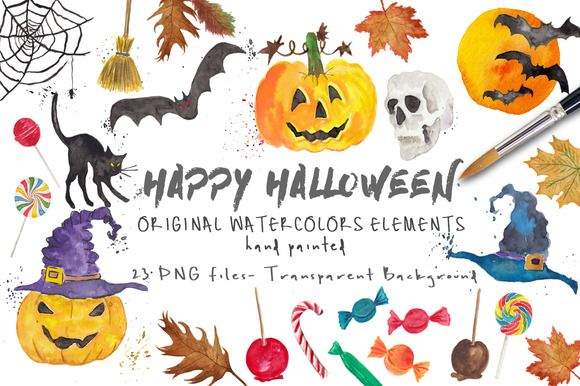 Halloween ClipArt Watercolor Pack - Watercolor Halloween Clip Art Pack - Pumpkins, bats, candy and treats, cat, witch hats, broom, haunted house, skull and more  illustrations in original watercolor by MARAQUELA WATERCOLOR.  This collection includes: zip with 23 pictures (21 drawings related to halloween party and 2 brushstrokes in watercolor to create your own compositions or as background of a text) on separate layer PNG image Transparent background - High resolution - 300dpi in