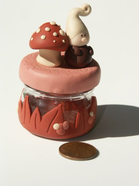 Toadstool and Gnome Decorated Bottle
